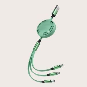 3 в 1 Телефон Кабель для передачи данных SHEIN. Цвет: зелёный