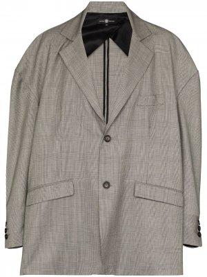 Клетчатый пиджак оверсайз Edward Crutchley. Цвет: серый