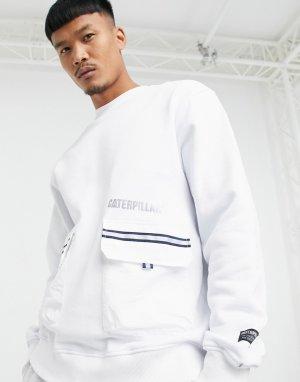 Белый свитшот с карманами со светоотражающей полоской и логотипом Caterpillar Cat Footwear