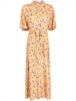 Платье-рубашка с цветочным принтом byTiMo. Цвет: розовый