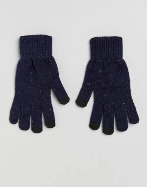 Темно-синие перчатки в крапинку для сенсорных гаджетов ASOS. Цвет: синий