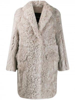 Фактурное пальто Blancha. Цвет: серый