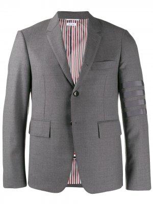 Пиджак Super 120s с полосками 4-Bar Thom Browne. Цвет: серый