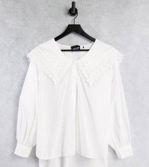 Белая рубашка из органического хлопка с большим воротником Pieces Curve-Белый Plus