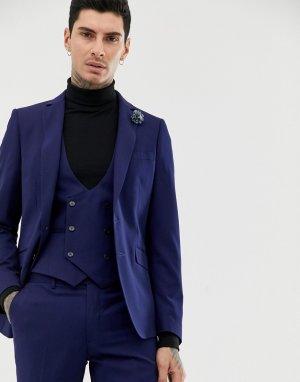 Темно-синий приталенный пиджак с добавлением шерсти Gianni Feraud
