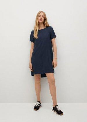 Короткое струящееся платье - Byec-h Mango. Цвет: темно-синий