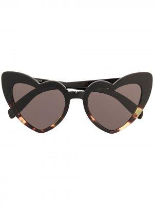 Солнцезащитные очки Lou с оправой в форме сердец Saint Laurent Eyewear. Цвет: черный