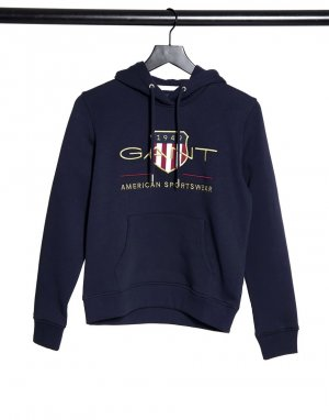 Темно-синее худи с логотипом и принтом GANT-Синий Gant