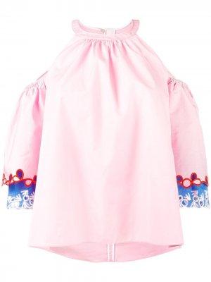 Блузка с вышивкой на рукавах Peter Pilotto. Цвет: розовый