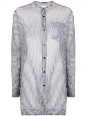 Длинная рубашка 2000-х годов в полоску Dries Van Noten Pre-Owned. Цвет: синий