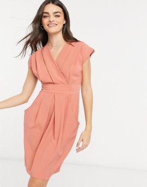 Серо-коричневое платье с запахом, складками и карманами -Коричневый Closet London