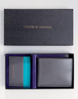 Подарочный набор из кожаных бумажника и кредитницы Smith And Canova. Цвет: зеленый