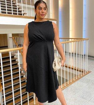 Черное платье мидакси без рукавов с расклешенным подолом -Черный Closet London Plus