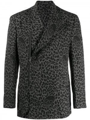 Блейзер с леопардовым принтом Yohji Yamamoto. Цвет: черный