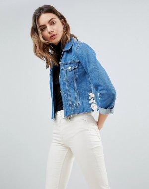 Джинсовая куртка со шнуровкой French Connection. Цвет: синий