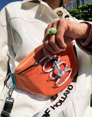 Оранжевая сумка на пояс с ремешком через плечо, логотипом и отделкой шнурком -Оранжевый цвет House of Holland