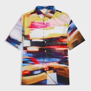 Мужская рубашка с коротким рукавом и узором граффити SHEIN. Цвет: многоцветный