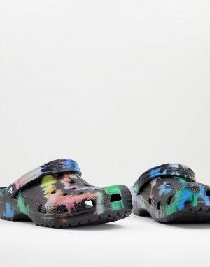 Черные классические сабо с разноцветным принтом тай-дай в форме спирали -Multi Crocs
