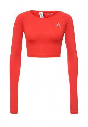 Лонгслив спортивный adidas TF CROP TOP. Цвет: красный