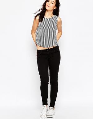 Черные облегающие джинсы с молниями на щиколотке Delphin Genetic Denim