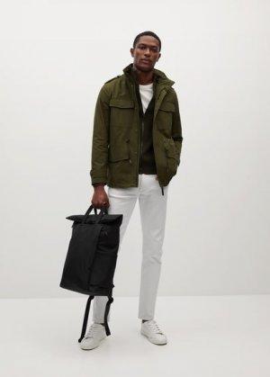 Холщовый рюкзак с клапаном - Online6 Mango. Цвет: черный
