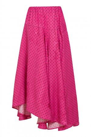 Розовая юбка в черный горох Balenciaga. Цвет: розовый