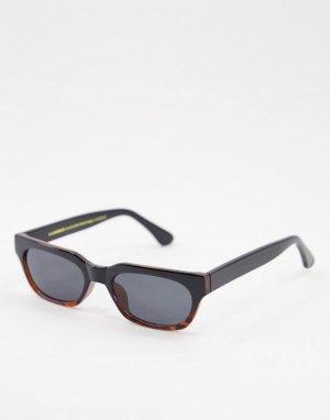 Узкие прямоугольные солнцезащитные очки в стиле ретро черно-коричневой черепаховой оправе с эффектом деграде Bror-Черный цвет A.Kjaerbede