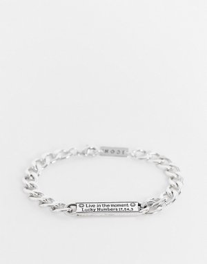 Серебристый браслет-цепочка с биркой Icon Brand