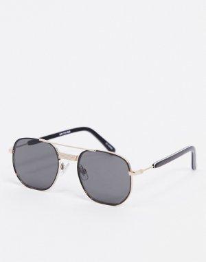 Квадратные солнцезащитные очки с золотистой оправой и переносицей Nailsea-Золотой Spitfire
