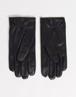 Кожаная перчатка с логотипом -Черный Tommy Hilfiger