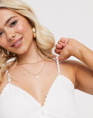 Белая фактурная майка с вышивкой -Белый New Look