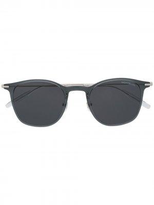 Солнцезащитные очки в глянцевой круглой оправе Montblanc. Цвет: серый