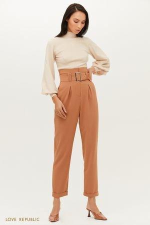 Прямые брюки с завышенной линией талии и эффектным поясом LOVE REPUBLIC