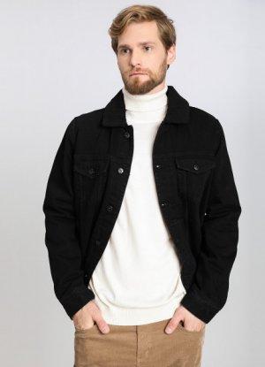Джинсовая куртка с подкладкой из искусcтвенного меха O`Stin. Цвет: черный