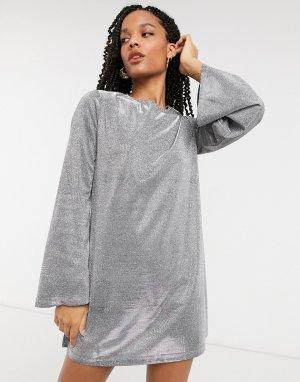 Серебристое платье мини с эффектом металлик -Серебряный Elvi