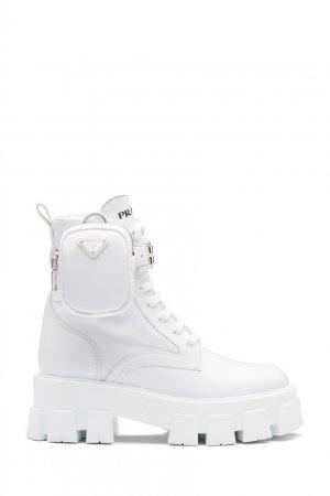 Белые ботинки на массивной подошве Monolith Prada. Цвет: белый