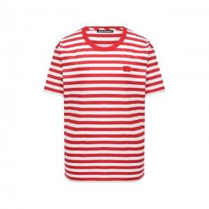 Хлопковая футболка Acne Studios. Цвет: красный