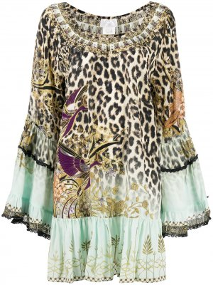 Декорированное платье с леопардовым принтом и оборками Camilla. Цвет: нейтральные цвета