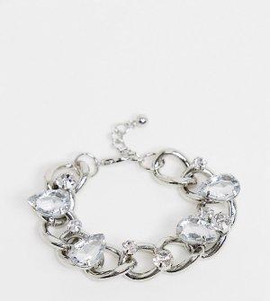 Серебристый браслет из цепочки с крупными звеньями и камнями ASOS DESIGN Curve-Серебряный Curve