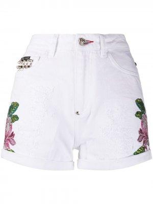 Джинсовые шорты с вышивкой Philipp Plein. Цвет: белый