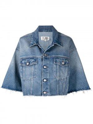 Укороченная джинсовая куртка MM6 Maison Margiela. Цвет: синий