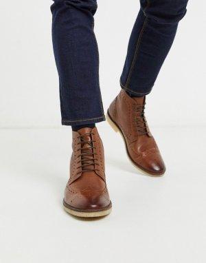 Светло-коричневые кожаные ботинки-броги -Коричневый цвет ASOS DESIGN