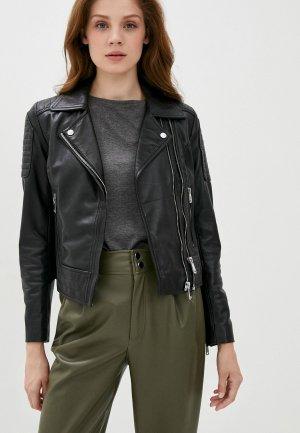 Куртка кожаная Снежная Королева PA6125S20. Цвет: черный