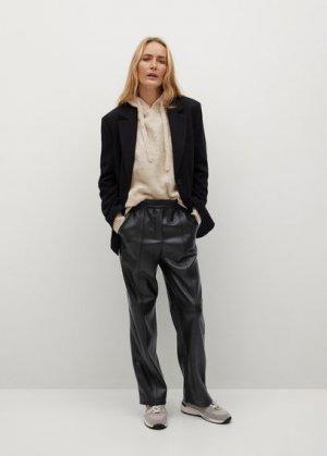 Прямые брюки из искусственной кожи - Mac Mango. Цвет: черный
