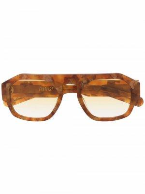 Солнцезащитные очки-авиаторы FLATLIST. Цвет: коричневый
