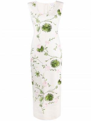 Платье миди с цветочной вышивкой Giambattista Valli. Цвет: белый
