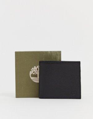 Черный кожаный бумажник с эмблемой Timberland