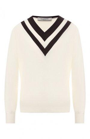 Шерстяной пуловер Valentino. Цвет: кремовый