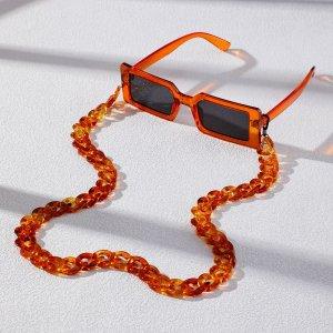 Мужские солнцезащитные очки в квадратной оправе с цепочкой SHEIN. Цвет: многоцветный