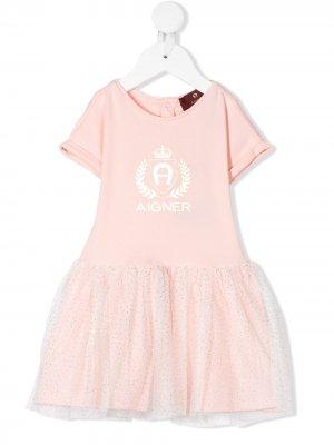 Расклешенное платье с логотипом Aigner Kids. Цвет: розовый